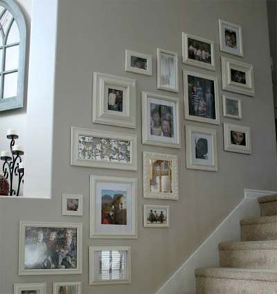 Picture wall running up stairs