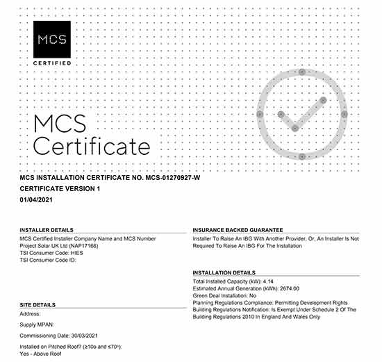 Example of an MCS certificate