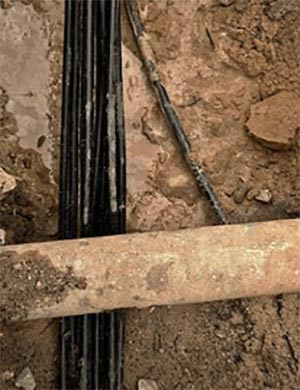 Pipe and cables in ground