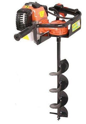 Petrol powered fence post auger