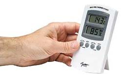A hygrometer measures the dampness of the air