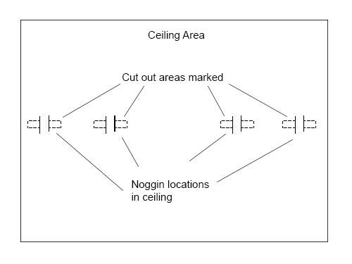 Cutting area marked around ceiling joist