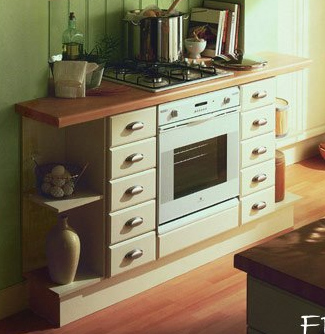 Kitchen base units with fitted cooker