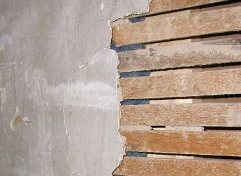 lath wall without plaster