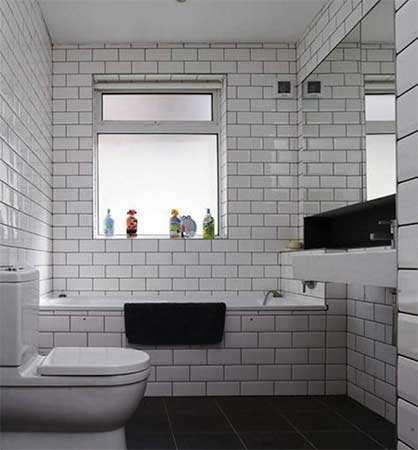 Bathroom tiled floor to ceiling