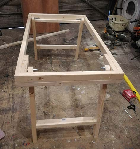 Workbench frame sat up on its legs