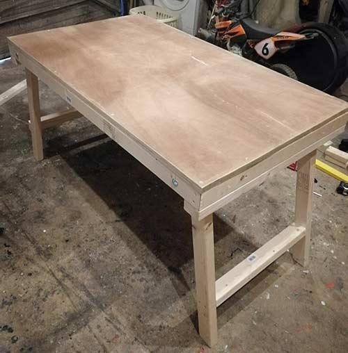 Completed folding workbench