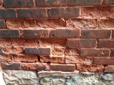 Brickwork damaged through freeze thaw action