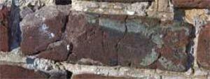 Brick damaged by freeze thaw