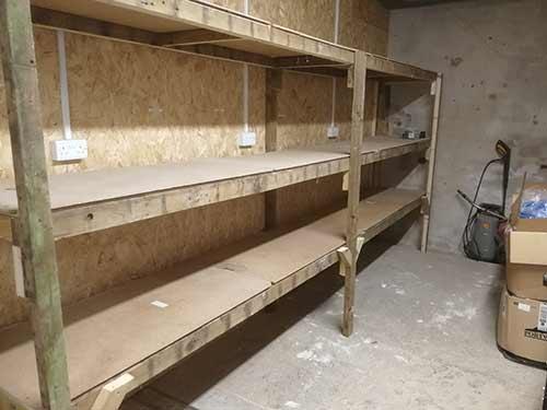 Finished garage or workshop storage racking