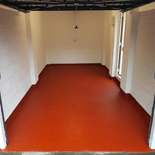 Nicely painted garage floor