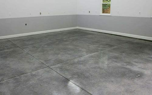 Stain sealed garage floor