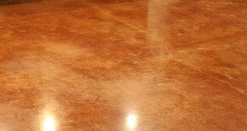 Stained and sealed concrete floor