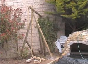Rope Swing Frame Attached to the Garden Wall