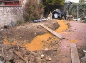 Dig out the Stream and lay sand to protect the liner