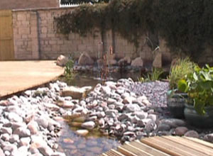 Copper Water Feature and stream from the Path