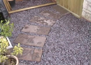Gravel in-fill and pathway
