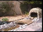 artificial stream powered by a pond pump