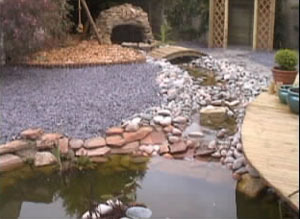Garden makeover with cave and stream