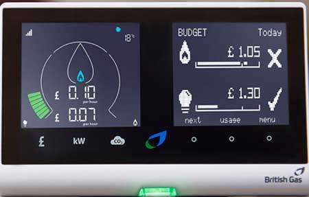 Smart meter showing gas usage