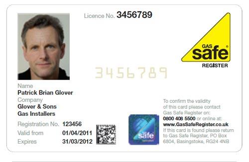Gas safe register id card front