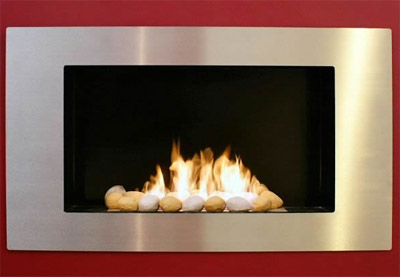 Gel fire burning in contemporary fireplace