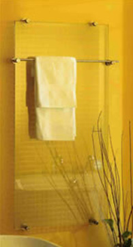 A glass towel rail