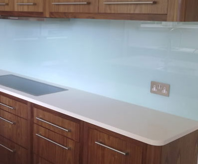 Frosted finish glass splashback