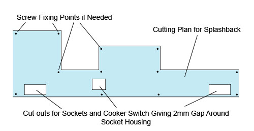 Kitchen splashback cutting plan