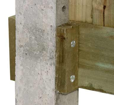 Timber cleats fixed to concrete fence post