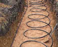 Ground source heating pipes layed in trench