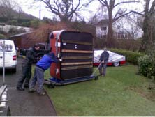 Moving hot tub in to position