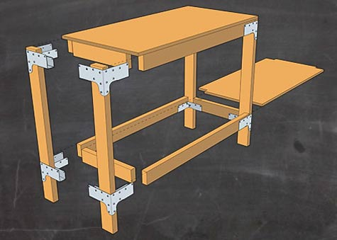 Components for DIY workbench with shelf