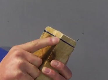 Marking timber where connector sits so that it's square