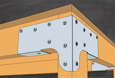 Metal bracket for building shelves or workbenches