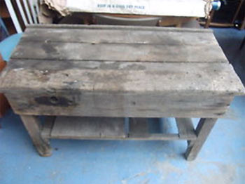 Rickety old work bench