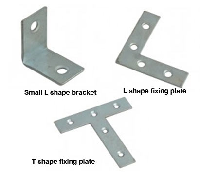 Selection of brackets for building shelves and workbenches