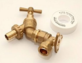 Outside tap with double check valve