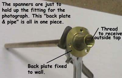 Tap pipe and backplate fixing