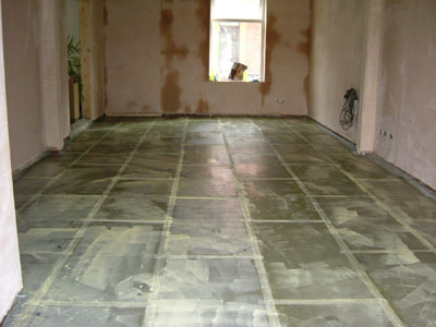 Adhesive applied to floor