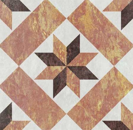 Geometric tiled floor inspired by ancient architecture