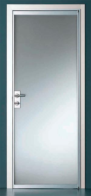 Frosted glass swinging door