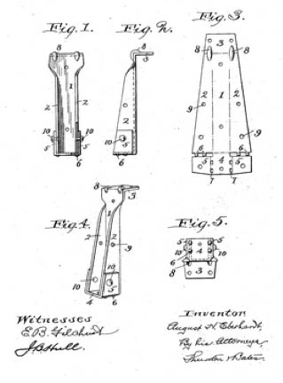 Patent of 1903 for joist hangers or jiffy hangers