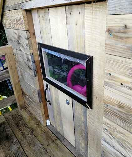 Perspex window created in playhouse door