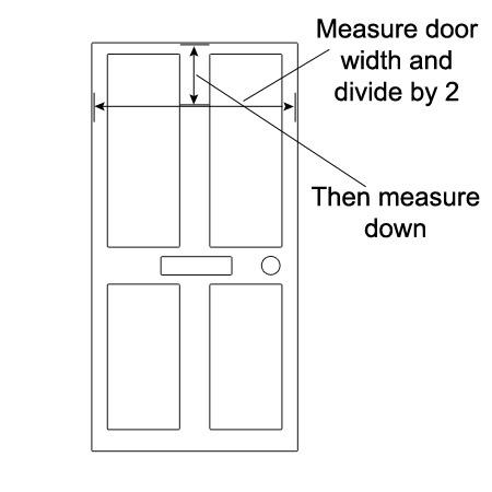 Measure width of door to fond centre