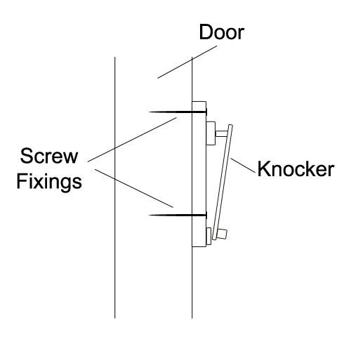 Surface mount door knocker fixing