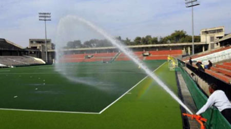 Water filled artificial grass
