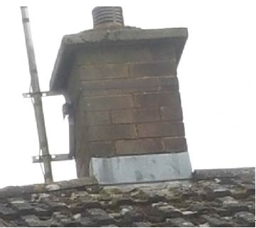 Apron flashing on a chimney stack