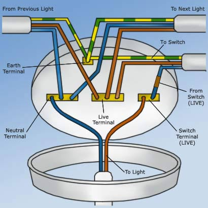 Wall And Ceiling Light Wiring : Wiring a Light Switch Wiring a Ceiling Rose DIY Doctor