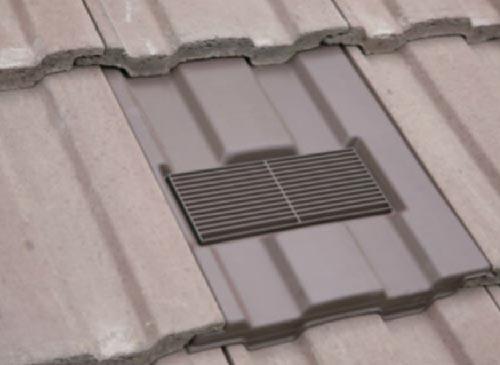 Roof tile vent designed to match standard Marley Ludlow Major Roof tiles